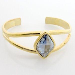 Solid Brass Open Cuff w/ Swarovski Crystal.